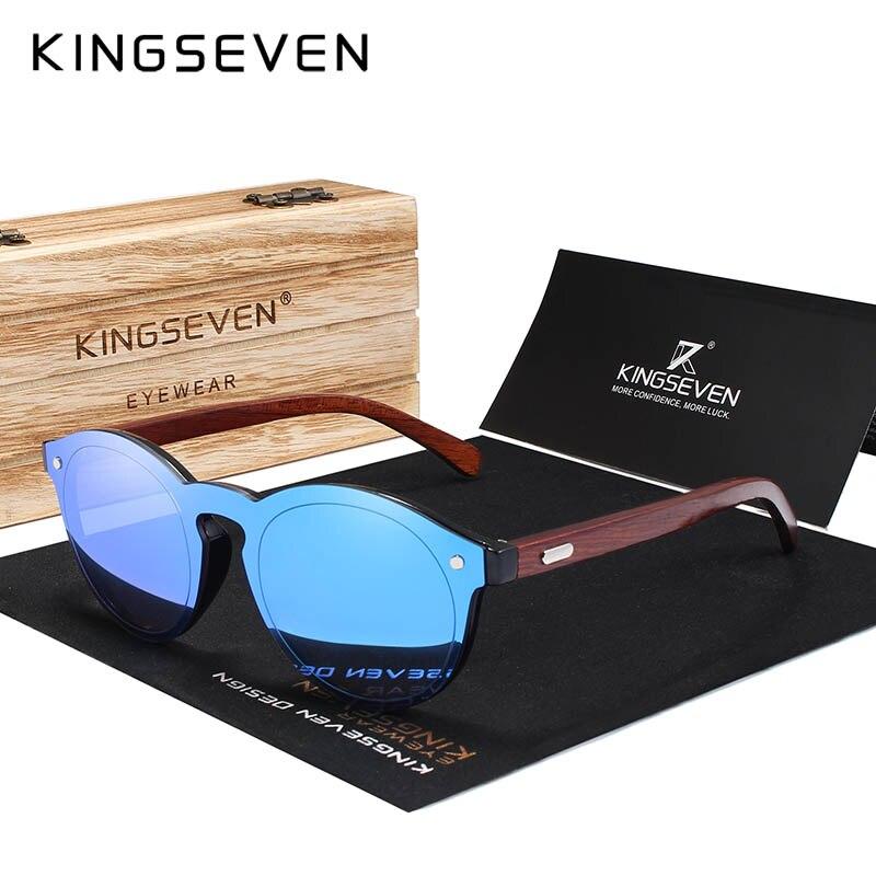 KINGSEVEN Natural Handmade Wood Sunglasses UV400 Men Sun Glasses Women Brand Design Original Rosewood Eyewear Oculo