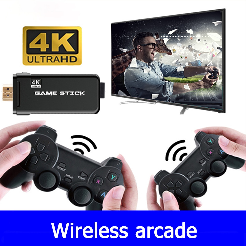 Retro Mini 4K TV Video Game Console Dual Players Wireless Controller HDMI-compatible Gaming Stick Support PS1 CPS Classic Games