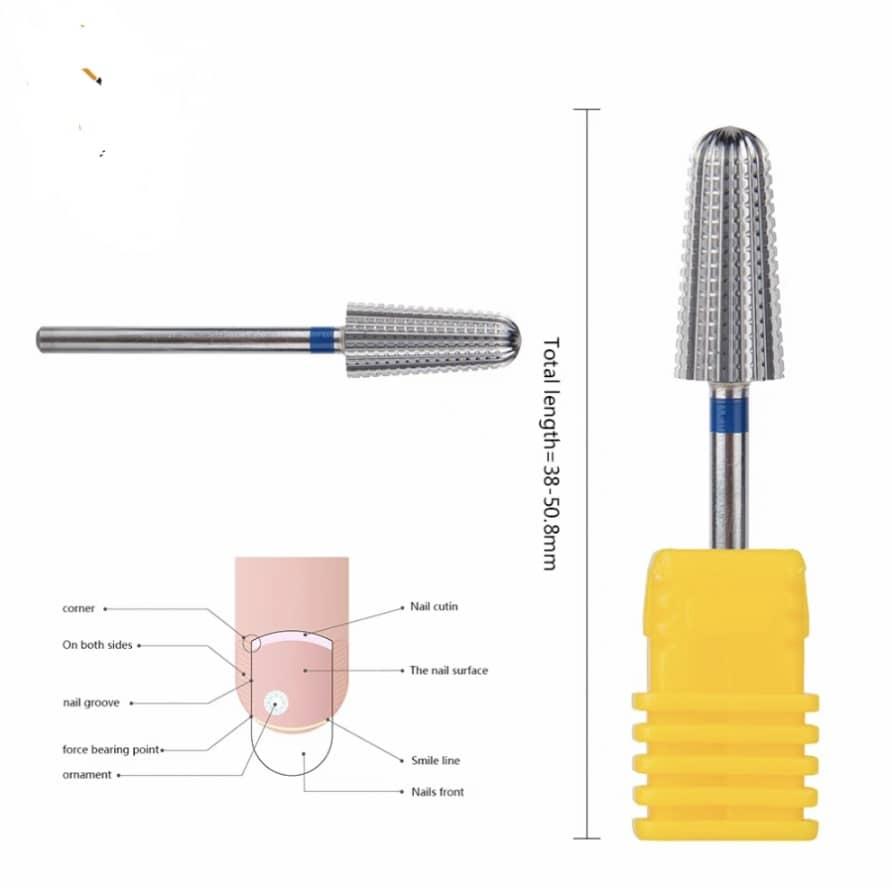 5in1afilado segurança carboneto prego broca bits com corte brocas carboneto fresa para manicure remover gel unhas acessórios