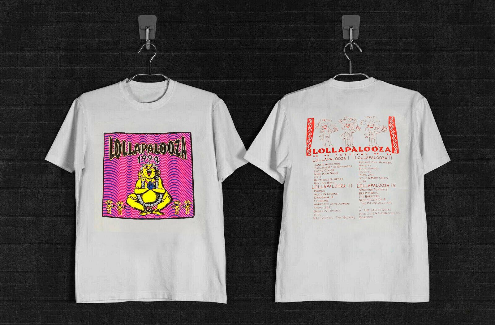 1994 lollapalooza 4 year line tour tshirt branco impressão superior