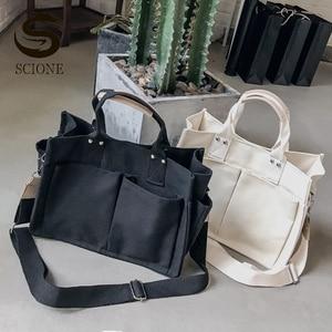 Women's Canvas Shoulder Bag Female Casual Tote Large Capacity Shopping Bags Black White Handbags Fashion Crossbody Bag XA289M