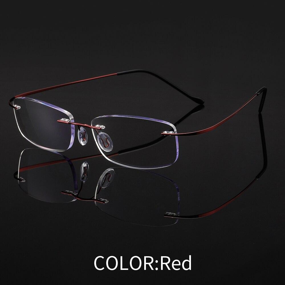 Unisex Randlose Titan Lesebrille Platz Rahmen Presbyopie Brille Frauen Männer Flexible Brillen + 1,00-+ 3,50