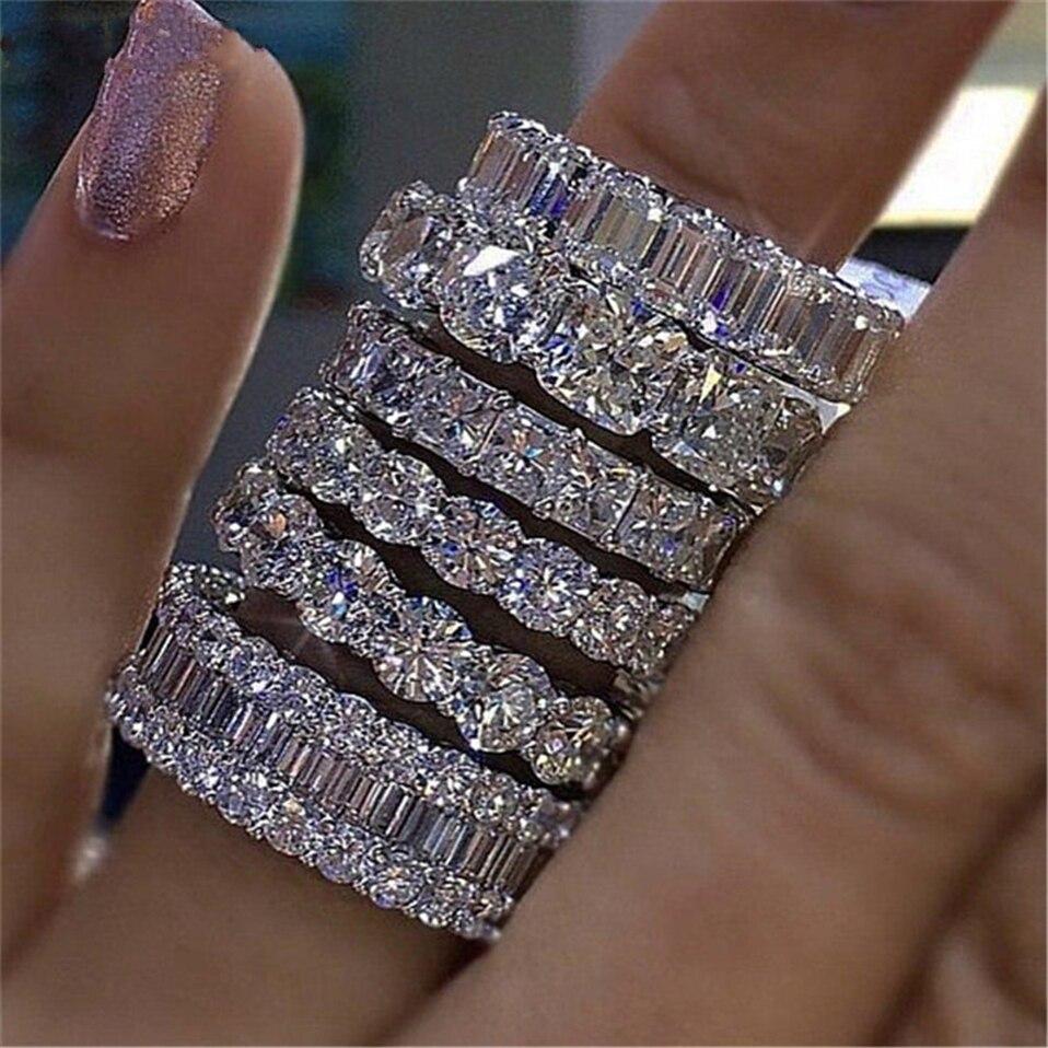 Роскошное обручальное кольцо из стерлингового серебра 925 пробы с вечным кольцом для женщин, большой подарок для дам, любовь, оптовая продажа, много навальных ювелирных изделий R4577