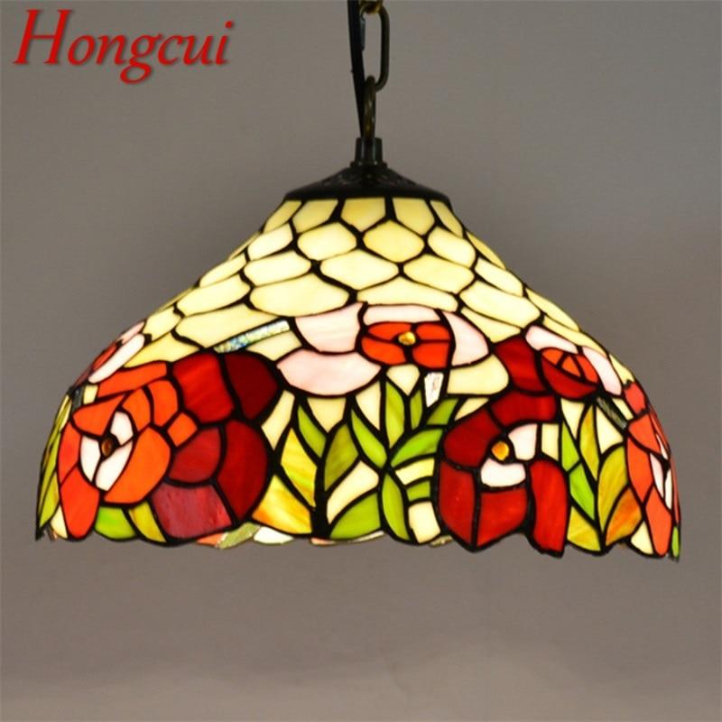 Hongcui تيفاني قلادة ضوء المعاصرة LED تركيبات مصباح ملون ديكور للمنزل غرفة الطعام