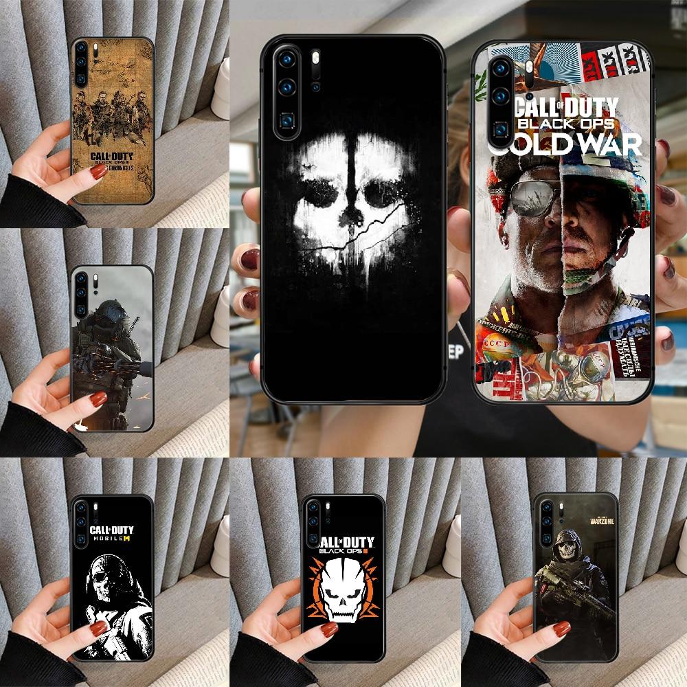 Call of Duty-funda negra para Huawei P Mate Smart 10, 20, 30,...