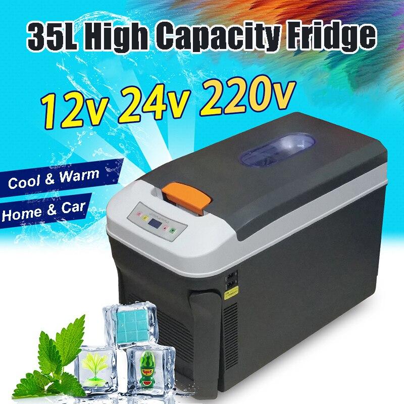 Мини-холодильник для автомобиля 35Л Морозильный нагрев DC12/24В/220В портативный холодильник для автомобиля для домашнего пикника холодильное О...