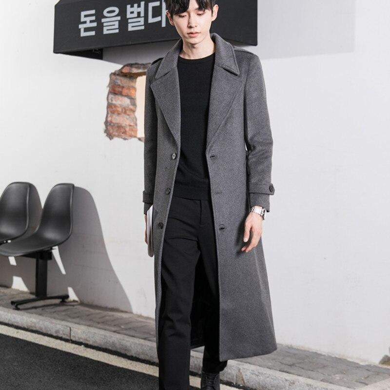 نمط جديد سترة واقية الرجال طول الركبة سميكة الدافئة معطف تويد الرجال الموضة الرجال فضفاض معطف تويد الصوف