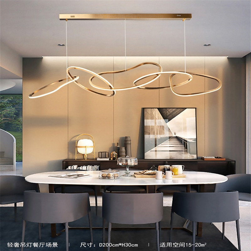 Luces colgantes de comedor, personalidad creativa, lámparas irregulares de aluminio, estilo nórdico, barra de arte, lámpara para sala de estar