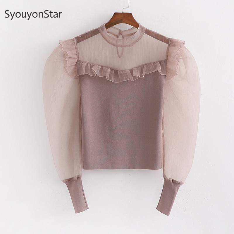 SyouyonStar mujer otoño malla empalmada blusa transparente manga larga volantes camisetas 2019 Puff manga