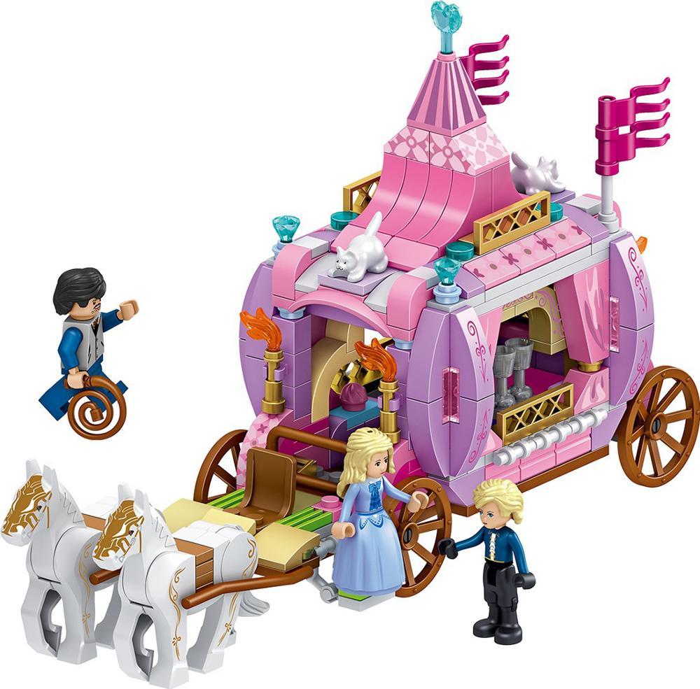 Windsors zamek księżniczka 351 sztuk królewski powóz klocki budowlane zabawka kopciuszek księżniczka bloki cegieł kompatybilny dziewczyna serii