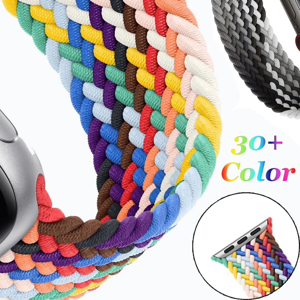 1 1 offical strap for apple watch series 6 5 se 4 braided solo loop 40mm 44mm woven watchbands for iwatch 3 2 1 38mm 42mm strap Nylon Braided Solo Loop for Apple Watch Band 44mm 40mm 38mm 42mm 1:1 Watch Elastic Belt Strap for IWatch Series 6 5 4 SE 3 2 1