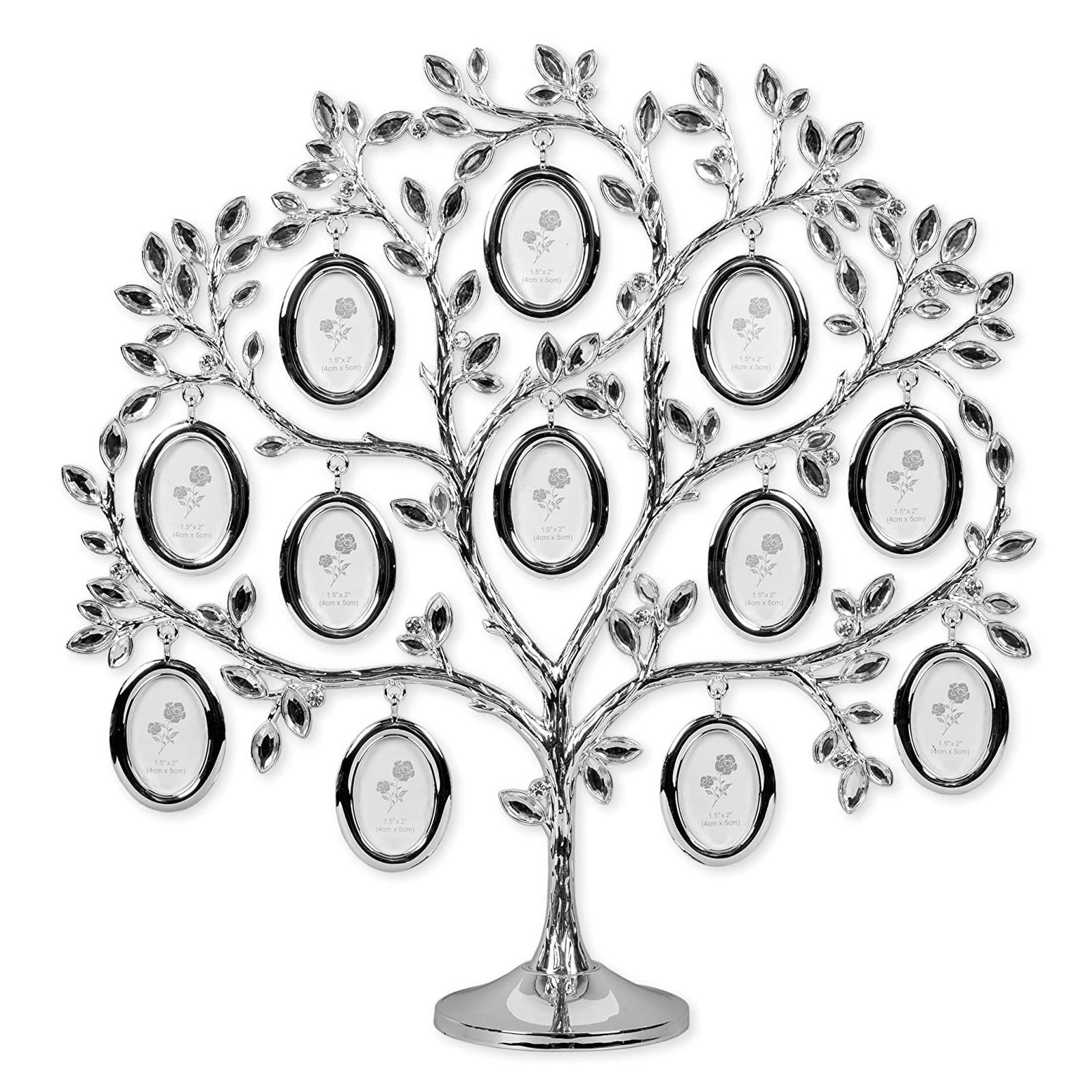 Árvore da Família Mesa de Exibição Decoração do Agregado Elegante Pendurado Foto Quadro Titular Casa Decoração Moldura Prata Familiar Ja55 12