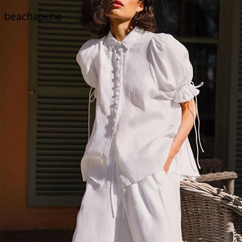 Beachapche Single Breasted Casual White Blouse Women Summer Top Ladies Puff Short Sleeve Shirt Lace Up Ruffled Elegant