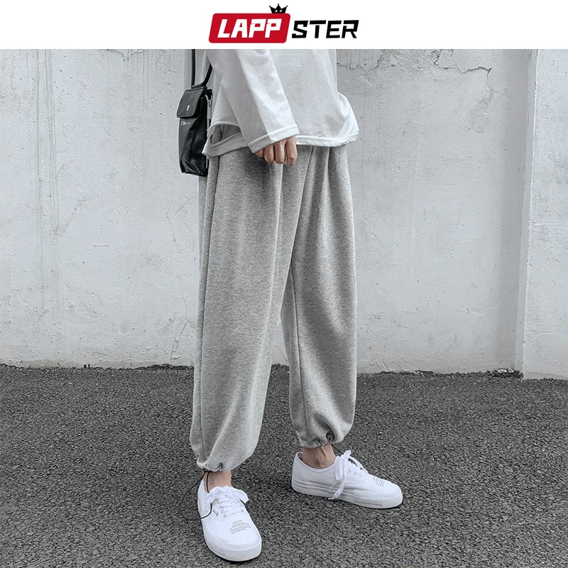 LAPPSTER Men Solid Cotton Harem Pants 2020 Mens Korean Fashions Harajuku Joggers Pants Couple Loose Black Casual Sweat Pants
