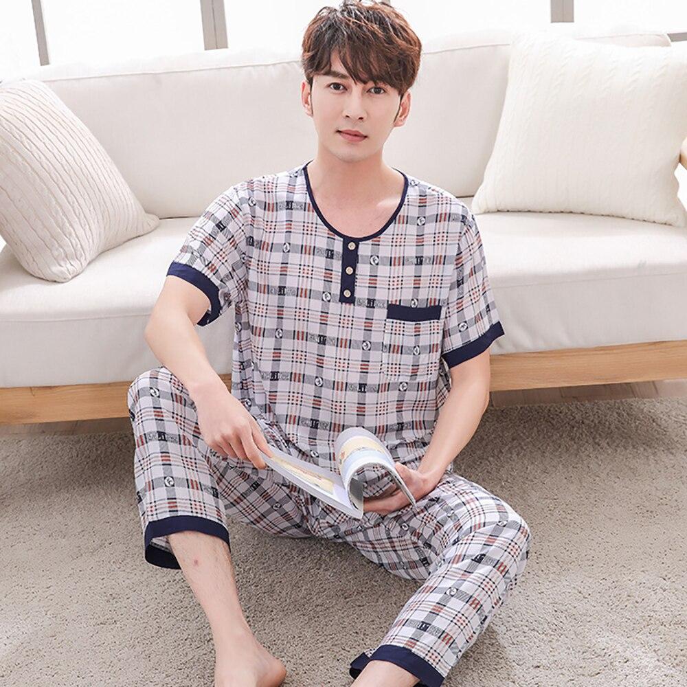 Плюс размер одежда для сна костюмы мужчины пижама повседневная мягкая пижама комплекты принт короткий рукав длинные брюки лето тонкие домашние одежда пижамы мужские