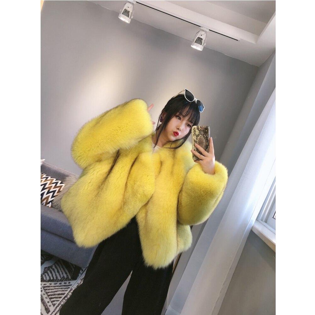 2019 شتاء جديد إمرأة الثعلب معطف الفرو قاطرة معطف قصير نمط إمرأة فرو سترة أصفر معطف كبير الحجم