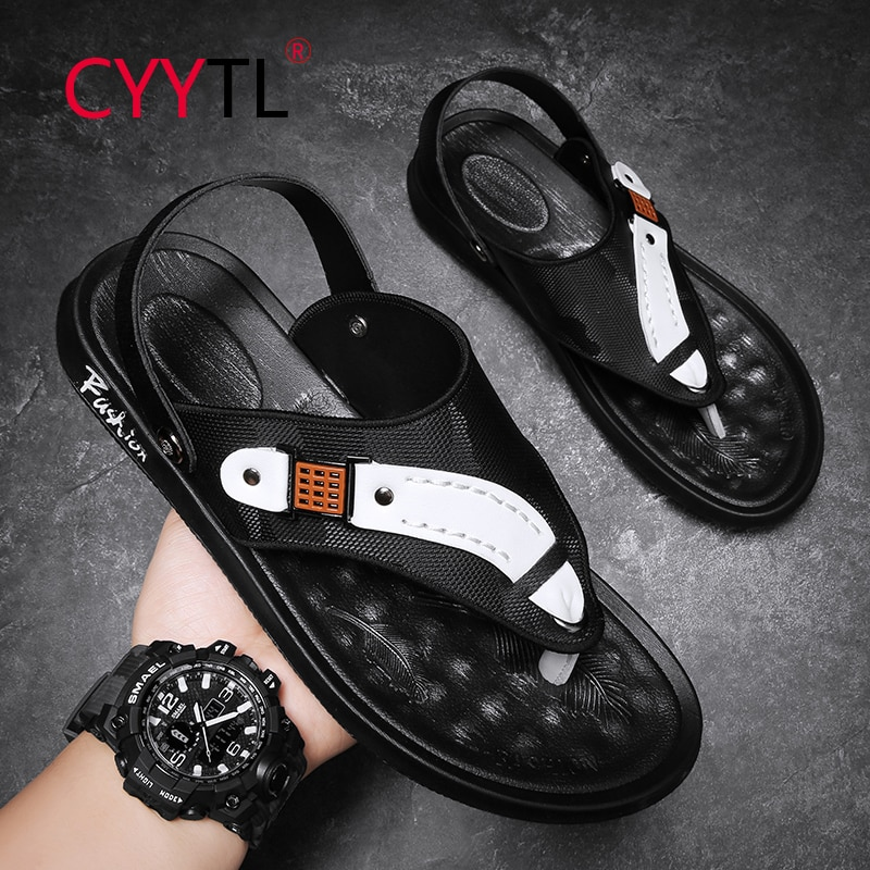 CYYTL Flip Flops for Men Leather Wide Comfort Summer Non Slip Beach Slippers Casual Outdoor Sandals Soft Cushion Footbed
