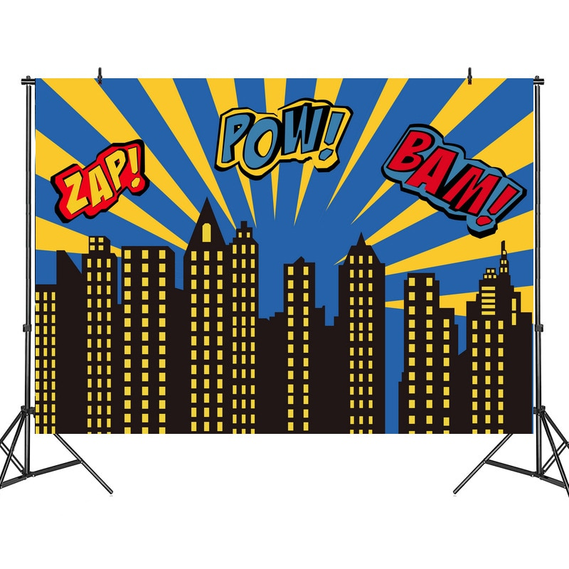 New Superhero Birthday Background Fabric Child Baby Hundred Days Theme Party Layout Foreign Trade Cross-Border Hot Sale