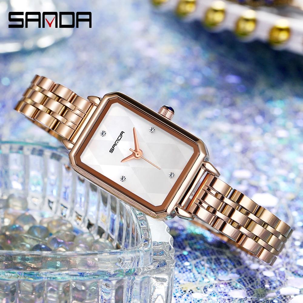SANDA Green Small Rectangular Dial Ladies Quartz Watch New Retro Malachite  Fashion Trend Roman Scale Women Watches 2020 Clock enlarge