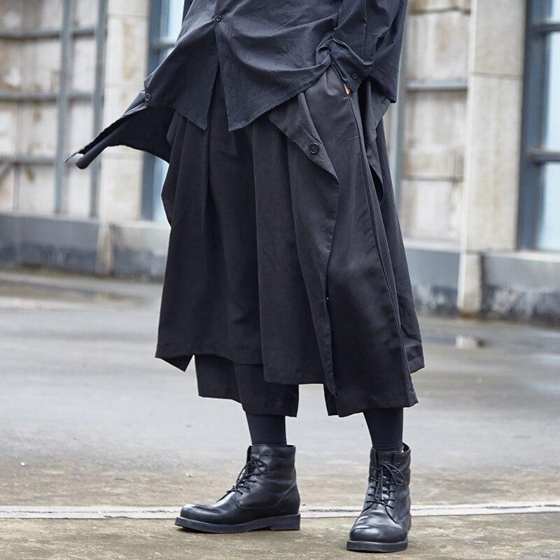 Ropa de calle japonesa, estilo Hip Hop, estilo Punk gótico, Kimono para hombres, ropa de dos estilos, pantalones holgados informales de pierna ancha, pantalones, falda para hombre