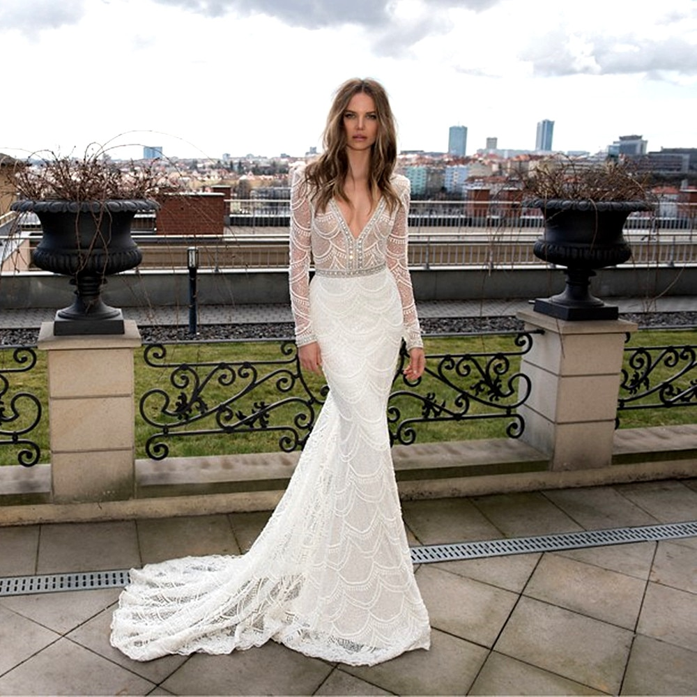 White Bridal Gown Deep V-Neck Custom Lace Mermaid Wedding Dresses 2020 Long Sleeve bride dress платье свадебное vestido de noiva
