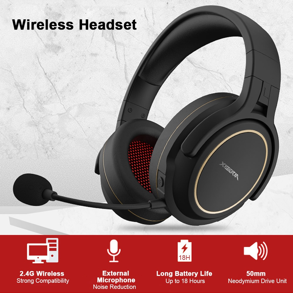 2.4GHz Wireless Gaming Headset with Transmitter Game Headphones Stereo Music Earphone Super Bass AUX-IN 3.5mm Wired Headset