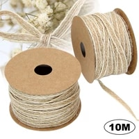 10 mroll braided twine with white lace edge hemp rope diy simple retro home decoration christmas gift box packaging decoration