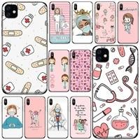 doctors nurse medicina cartoon phone case for iphone 11 12 pro xs max 8 7 6 6s plus x 5s se 2020 xr soft silicone cover funda