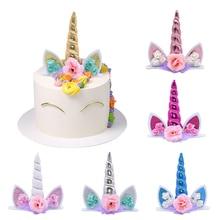 Licorne gâteau Topper décor danniversaire pour gâteaux décoration fournitures licorne fête danniversaire enfants faveurs bébé douche décor de mariage