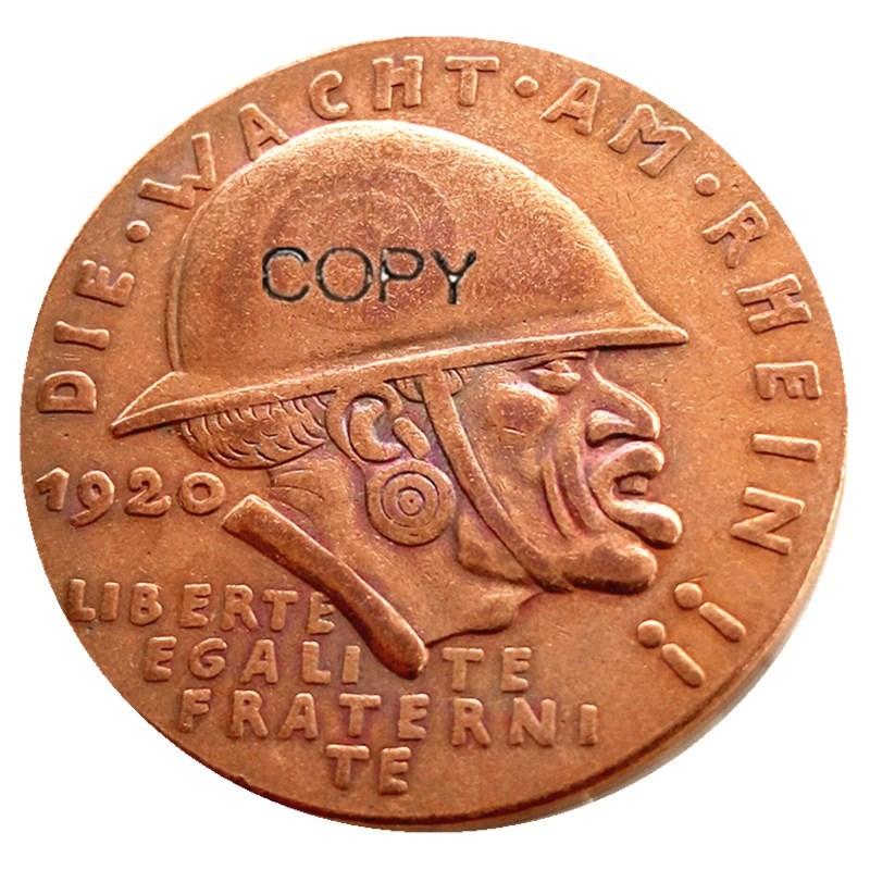 Moneda conmemorativa de Alemania 1920, Medalla de la vergüenza negra, moneda de cobre 100% copia rara