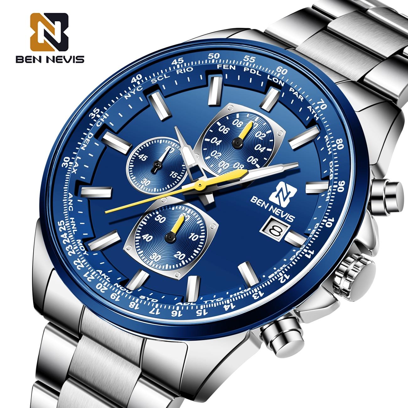 BEN NEVIS 2020 relojes de pulsera de cuarzo para hombre, relojes de moda de acero inoxidable con banda plateada, relojes de negocios con pantalla calendario