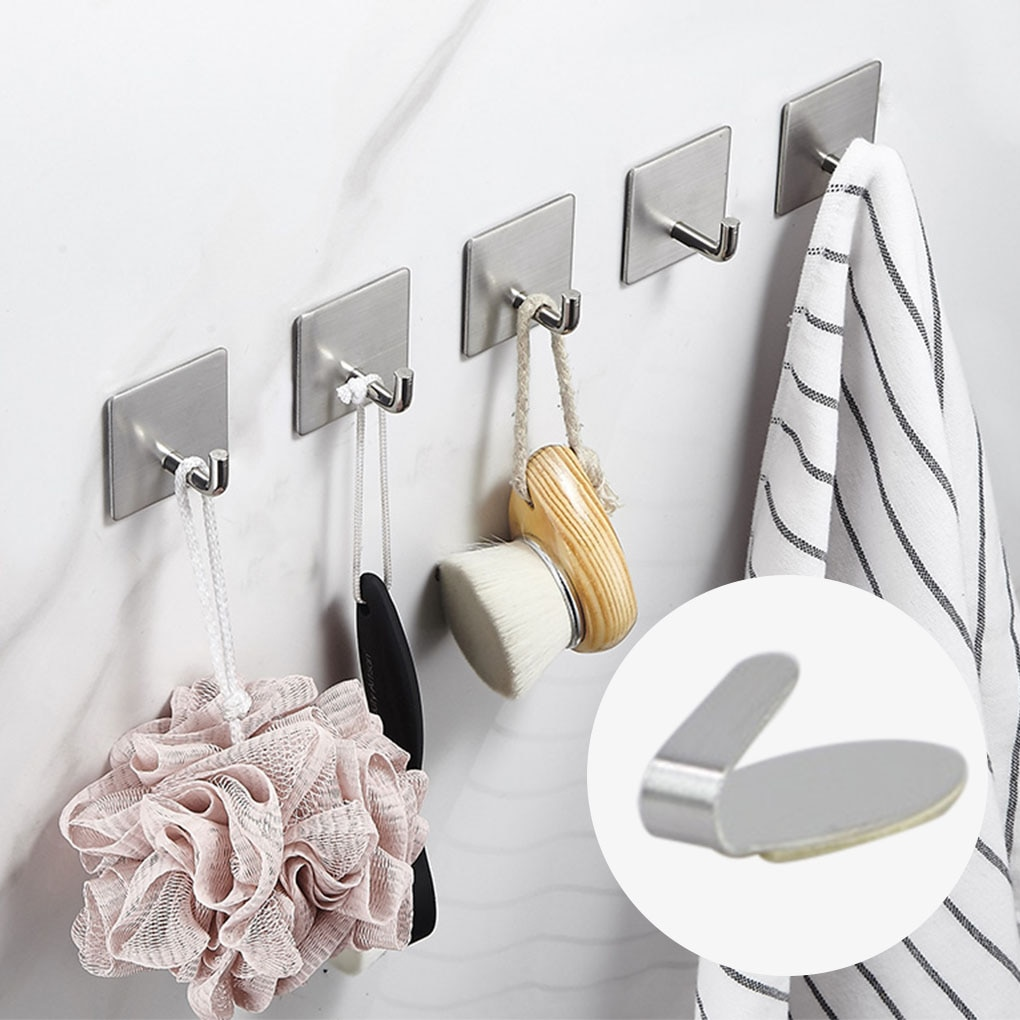 6pcs Wall Hook Home Office Bathroom Kitchen Wall Mounted Stainless Steel Hanger Adhesive Holder