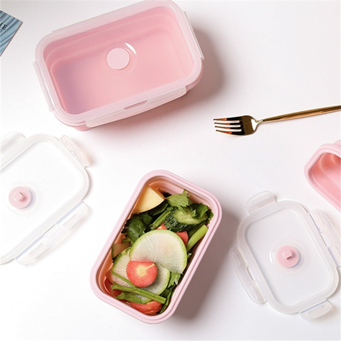 Mini fiambrera plegable de silicona de 350ml contenedor de almacenamiento de alimentos Bento BPA libre de microondas portátil Picnic Camping rectángulo