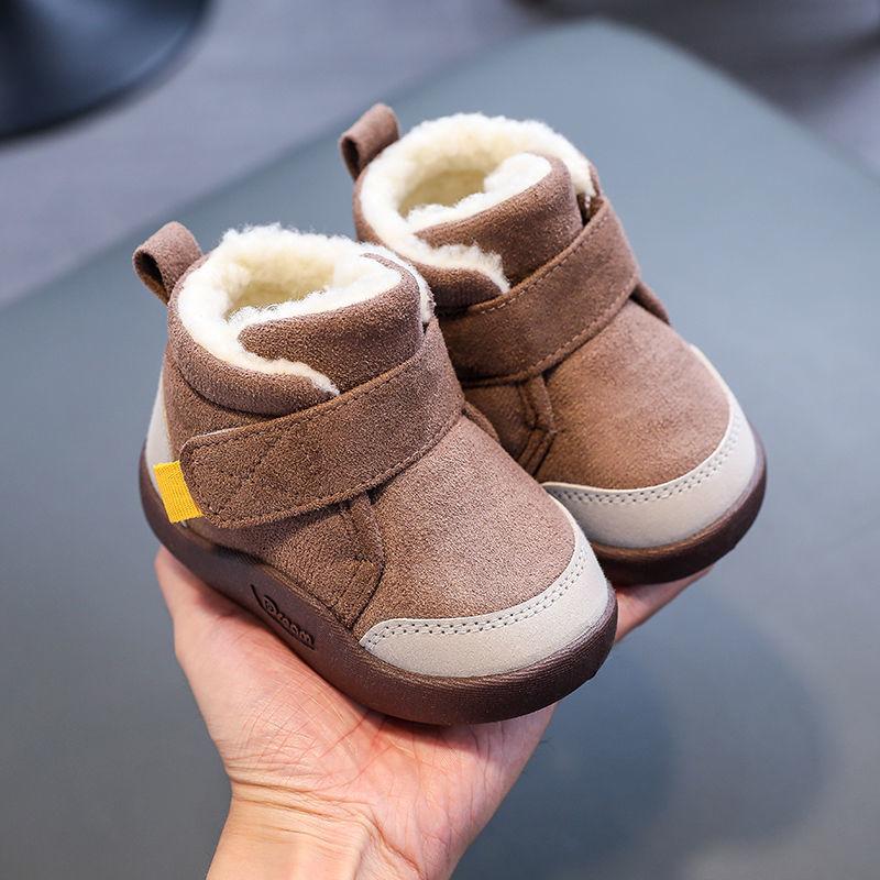 Soft-soled Non-slip Baby Toddler Shoes Plus Velvet Boys Cotton Shoes Short Boots Baby Shoes Unisex W