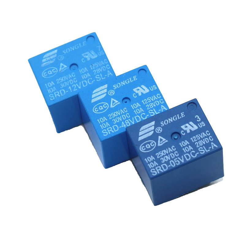 10pcs Relays SRD-05VDC-SL-A SRD-12VDC-SL-A SRD-24VDC-SL-A SRD-48VDC-SL-A 5V 12V 24V 48V 10A 250VAC 4PIN T73