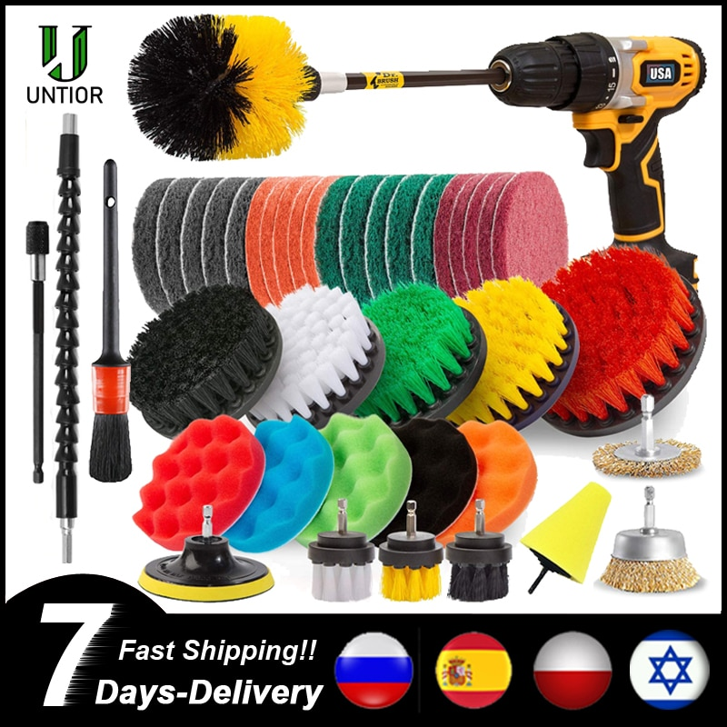 UNTIOR Drill Brush Attachment Set Power Scrubber Brush Car Polisher Bathroom Cleaning Kit with Exten