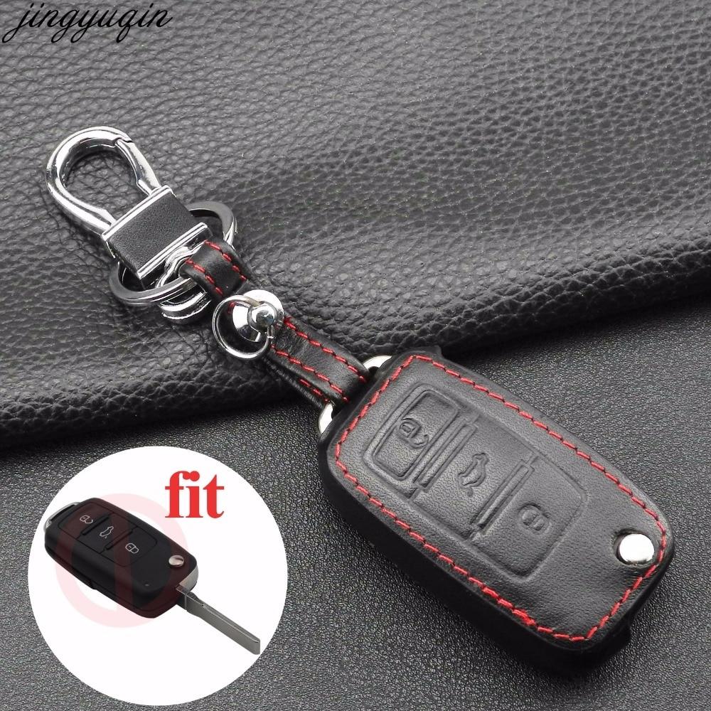 3 botones de coche de cuero clave Fob cubierta de la cáscara de la caja de la piel para VW POLO Bora Beetle Tiguan Passat B5 B6 Golf4 MK5 6 Jetta Eos Remote