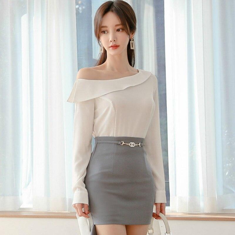 2020 Spring Korea Slim Oblique Full Sleeve White Blouse Irregular High Waist Bodycon Skirt Two-piece Sets Sexy Suit Dress