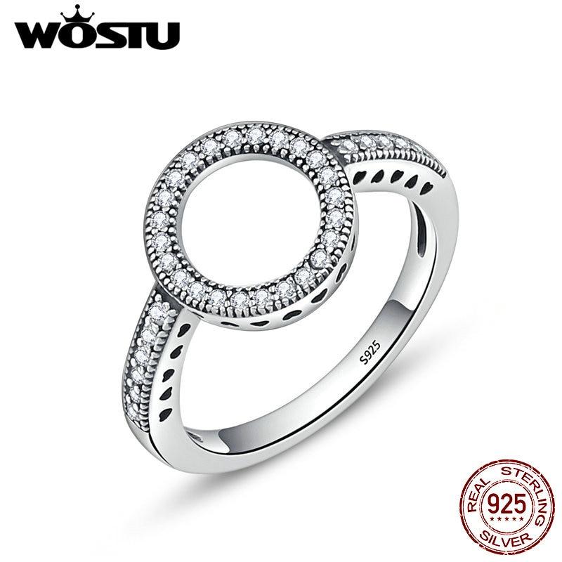 Женские кольца WOSTU, из серебра 925 пробы с кольцом на палец, модные украшения в подарок, Прямая поставка, 2019