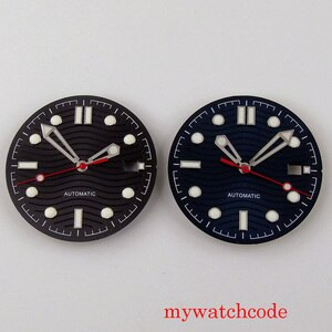 BLIGER 31mm Black Sterile Watch Dial With Date Window Wave Patterrns Wristwatch Hands Fit NH35 Automatic Movement