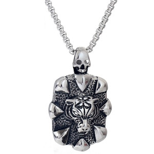 3pcs Titanium Steel Tiger Head Pendant Hip Hop Skull Jewelry Vintage Punk Animal Necklace For Men Party Jewelry Drop Shipping