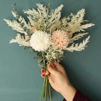 Fleur artificielle blanche en soie de haute qualite  nouveau Bouquet hybride de pissenlit et deucalyptus  fausses fleurs decoratives pour fete de mariage a domicile