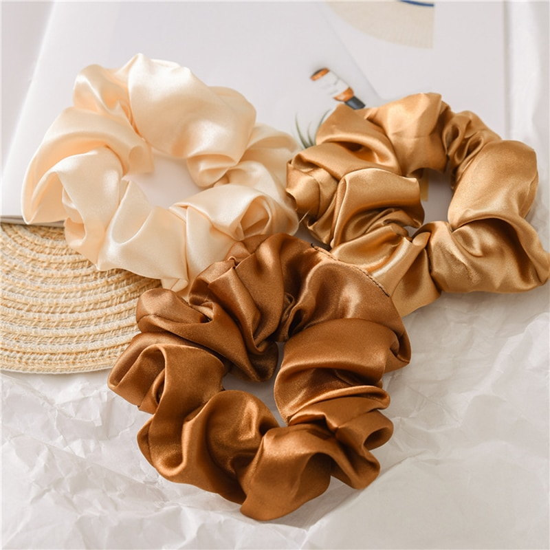 Women Silk Scrunchie Elastic Handmade Multicolor Hair Band Ponytail Holder Headband Hair Accessories 1PC Satin Silk Solid Color