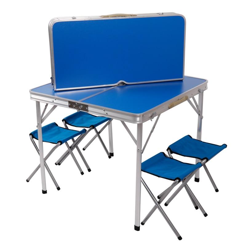 Mesa y sillas para exteriores, Mesa Plegable portátil de aleación de aluminio,...