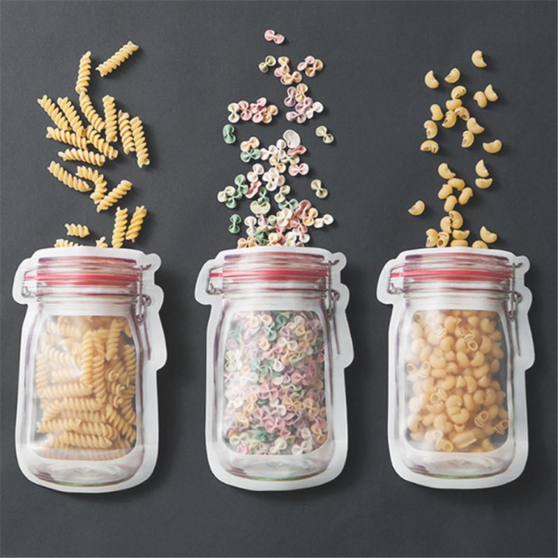12 pçs reusável mason jar saco de zíper saco de mercearia doces frasco sacos de armazenamento de alimentos nozes portátil biscoitos saco de cozinha alimentos lanches selados