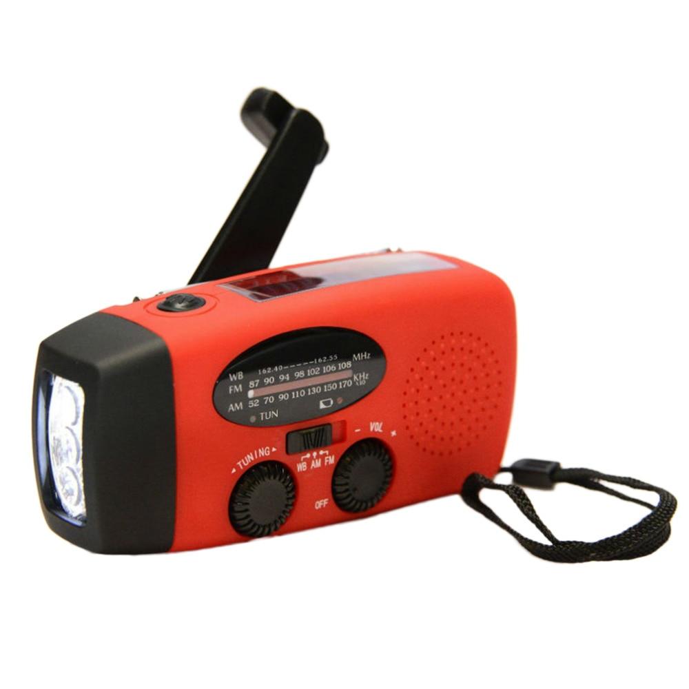Generador de manivela portátil de emergencia, Solar AM/FM/WB, cargador de linterna de Radio, a prueba de agua, herramientas de supervivencia de emergencia