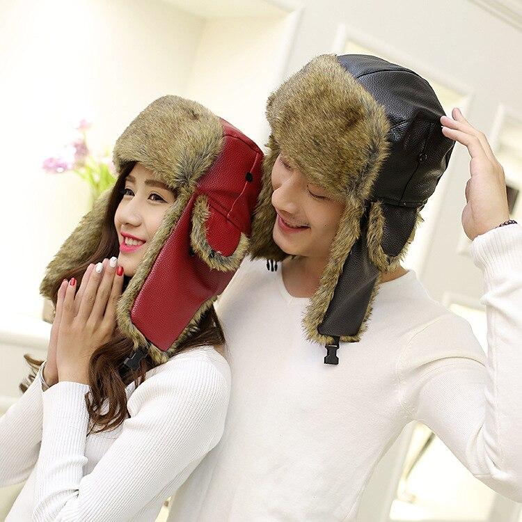 Winter Fur Warm Windproof Hat Men Women Lei Feng Cap Bomber Faux Fur Ear Flap Cap Female Ski Trooper