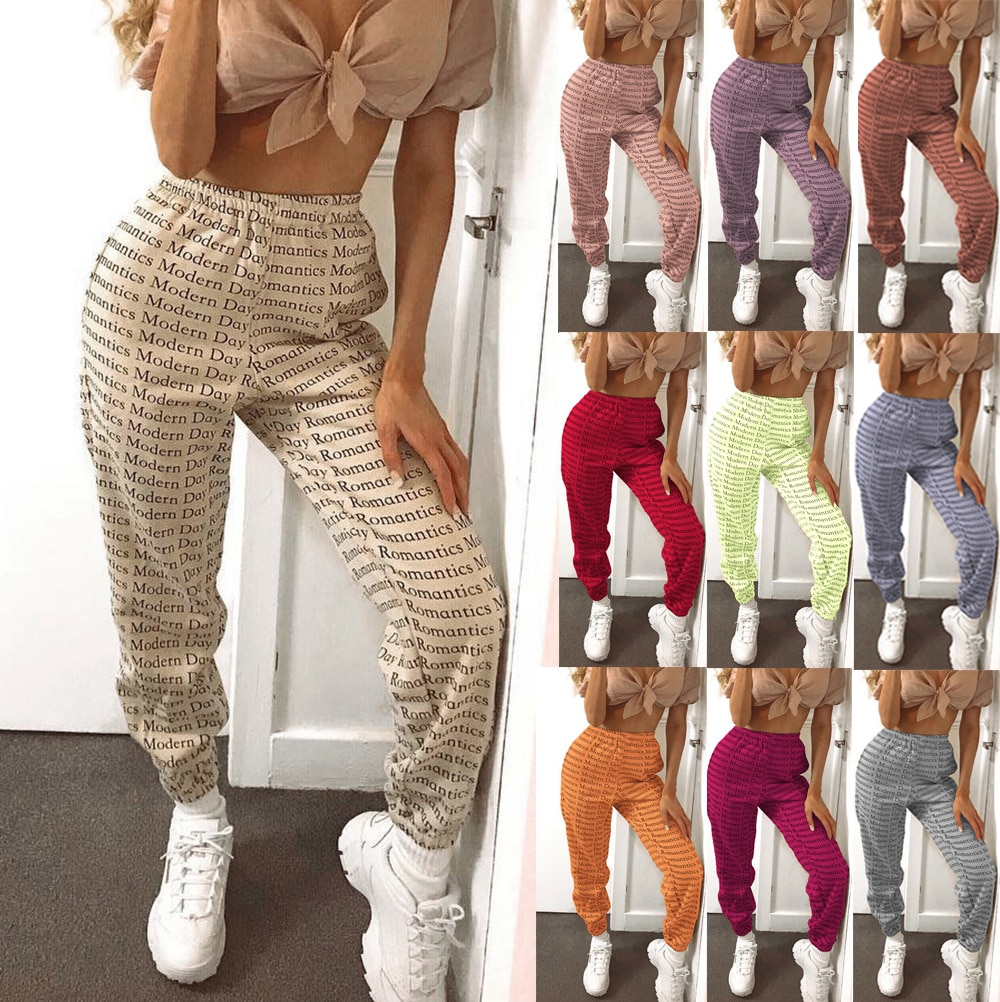 European and American street printed casual pants 2020 ins new letter printed bandage tightening belt foreign trade style ins foreign trade explosion models girls solid color velvet ladies skirt in the children s european and american style