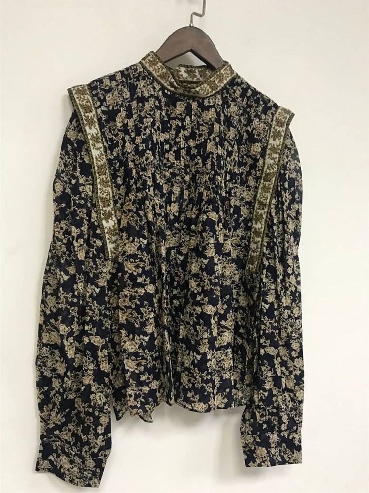 Impressão vintage blusas femininas manga longa camisa topo moda senhoras mini saia