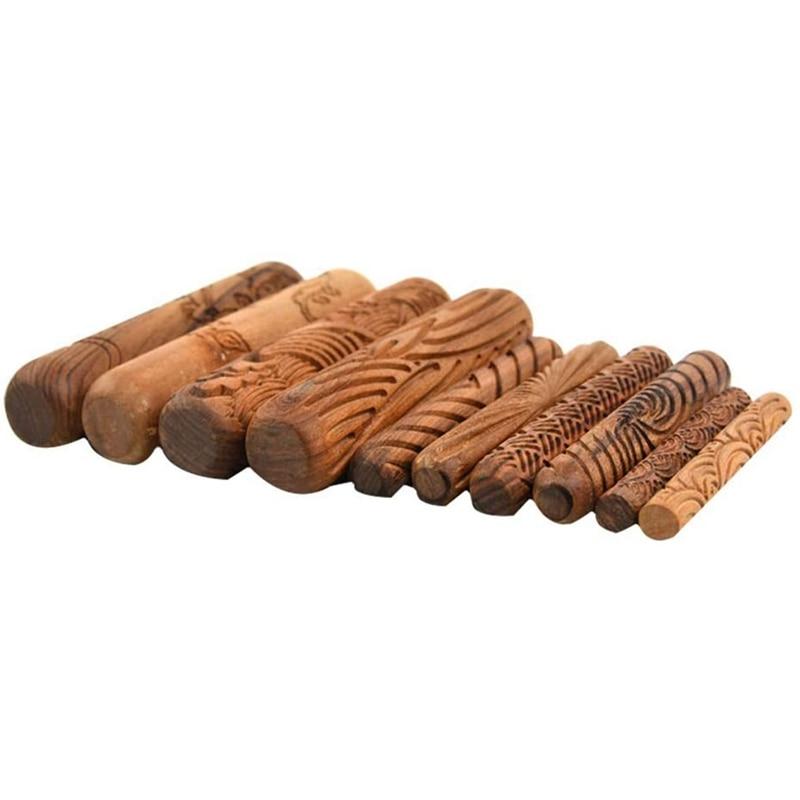 Ferramentas da cerâmica, conjunto de ferramentas da cerâmica do jogo dos rolos do teste padrão da modelagem da argila dos rolos do punho de madeira com padrões sortidos 10 pces